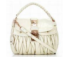 Cheap Miu Miu Leather Coffer Bag White