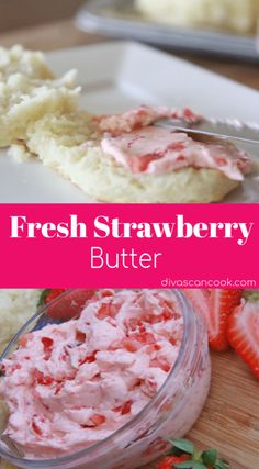 Creamy homemade strawberry spread using butter, strawberries and powdered sugar. Old fashioned, southern strawberry butter recipe Flavored Butter, Homemade Butter, Butter Recipe, Homemade Baby, Strawberry Butter, Strawberry Recipes, Strawberry Fruit Spread Recipe, Recipes With Fresh Strawberries, Healthy Cream Cheese