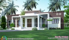 modern house front exterior design with home elevation design small with bungalo. modern house front exterior design with home elevation design small with bungalow house design in t Flat Roof Design, House Roof Design, Flat Roof House, Small House Design, House Front, Balcony House, Gate Design, Front Design, Simple Bungalow House Designs
