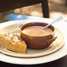 Creamy Tomato-Balsamic Soup (beef broth, brown sugar, balsamic vinegar, soy sauce, onion, garlic, tomatoes, half-and-half)