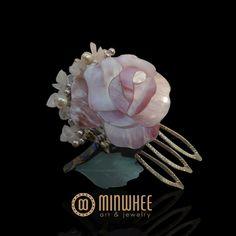 장옥정, 자개장미꽃 머리꽂이 - 고품격 수공예 주얼리 민휘아트주얼리 MINWHEE ART JEWELRY