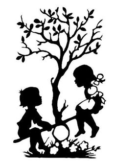 Balancing ~ Tree of life ~ Children ~ Silhouette Silhouette Clip Art, Silhouette Images, Black Silhouette, Silhouette Projects, Girl Silhouette, Kirigami, Stencil Patterns, Stencil Art, Wall Painting Decor