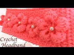 Diadema tejida con Gancho Crochet paso a paso con flores 3D tejido tallermanualperu - YouTube