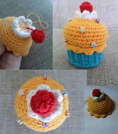 """An amigurumi cupcake I made. I crochetted the """"cream"""" once the orange part was finished, then sewed on the """"cherry"""" and the """"candy toppings"""".   © Sweet Faery"""