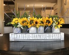 DIY Home Decor, place on the list these easy peasy styling pointer now. A decor ref number 9440118188 now. Sunflower Centerpieces, Mason Jar Centerpieces, Mason Jars, Sunflower Decorations, Spring Decorations, Spring Home Decor, Fall Decor, Diy Home Decor, Spring Kitchen Decor