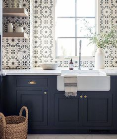 When the install is THIS GOOD and its in a LAUNDRY Room this time...we will proudly post the same @martynbullard tile two times in one month for our #WallCrushWednesday . Design/Repost: @whittneyparkinson Photo by: @mrssarahshields South Shore Decorating, Cabinet Colors, Timeless Design, Beautiful Space, Kitchen Pantry, Kitchen Ideas, Backsplash, Kitchen Remodel, Kitchen Design