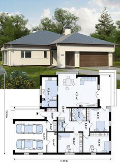 Проект дома Z200 L + 100 – это увеличенная версия типового проекта Z200 с одноуровневой планировкой и оригинальным внешним обликом. Простая конструкция строения делает дом уместным в любом ландшафте. Классический экстерьер, дополненный современными элементами декора, делают коттедж элегантным и стильным. Четкое размежевание пространства на зоны обеспечивает всем домочадцам удобство проживания. 4 Bedroom House Plans, Bungalow House Plans, Dream House Plans, House Floor Plans, Flat Roof House Designs, Modern Small House Design, Design Your Dream House, Cottage Plan, Cottage Homes