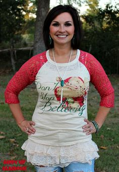 Don't Stop Believing Christmas Baseball Burnout Tee with Red Lace Sleeves - $29.95 - www.gugonline.com