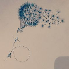 #sketch #pencil art #drawing #dandelion #air balloon #anchor #paper plane… Mais