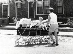 Triple baby pram plus toddler seat. That'd be hard to drive! Pram Stroller, Baby Strollers, Maclaren Pushchair, Vintage Photographs, Vintage Photos, Silver Cross Prams, Vintage Pram, Prams And Pushchairs, Baby Buggy