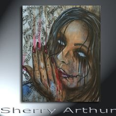 Dark Emotional Woman With Words Original Artwork by sherryarthur
