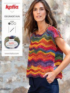 Eenvoudige gehaakte topjes voor dames: 10 haakpatronen van Katia
