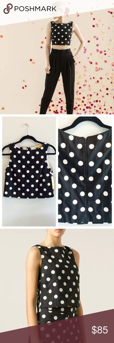 """Alice + Olivia Polka Dot Crop Top Two of my favorite things: Alice + Olivia & polka dots! Unfortunately it's a tad snug on me. Sleeveless, round collar and rear zip closure. 63% Polyester/35% Cotton/2% Elastane. Bust is approximately 16"""" with some stretch and length is ~ 17.5"""". I have never worn this and it's brand new! Paid $170 for it. It's seriously adorable!  Alice + Olivia Tops"""