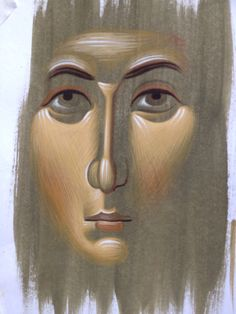 Example of face by Efrem Byzantine Icons, Byzantine Art, Religious Icons, Religious Art, Paint Icon, Religious Paintings, Painting Process, Orthodox Icons, Kirchen