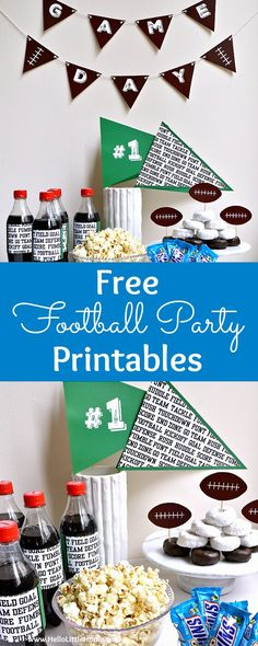 Free Football Themed Party Printables! Bring game day to the next level with these fun DIY football party decorations. These free sports theme printables (including banners, water bottle wraps, pennants, food toppers and labels) are cheap and easy to put