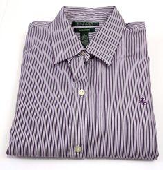 Ralph Lauren Purple striped Mens Casual/formal Dress Shirt Sz Large Non Iron #RalphLaurenPurpleLabel