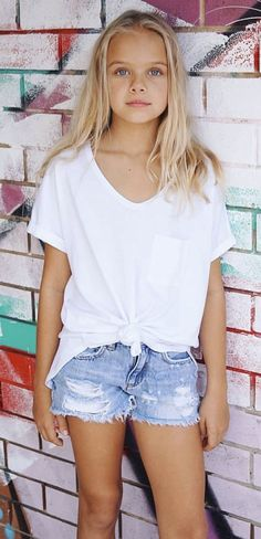 Little Blonde Girl, Casual Shorts, Denim Shorts, Cute Young Girl, Girls Jeans, V Neck, Hot, Women, Fashion