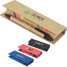 "Recycled paper desktop set with 5"" ruler, two 1 1/2 x 1 5/8 sticky note pads, 5 colors sticky flags and recycled paper pen."