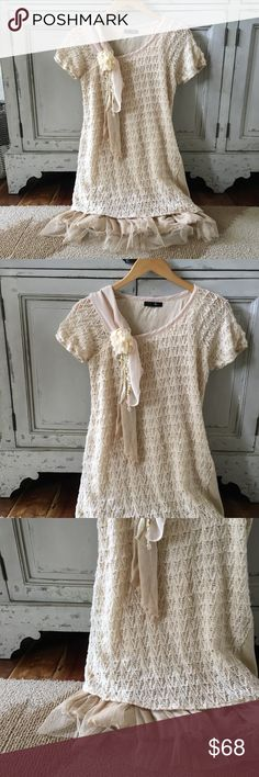 New Anthropologie Crochet Lace Sweater Dress S M Anthropologie Sweater Dress  Length: 36 inches (from top of shoulder to longest bottom hem)  Brand New! So pretty!  Floral pin on bust is removable.  Label: Ryu from Anthropologie Anthropologie Dresses
