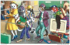 DRESSED CATS -ALFRED MAINZER - AT TICKET COUNTER - 4735 - V/F POSTCARD - 2 SCANS