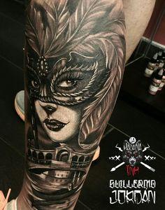 Venetian mask tattoo. Venezia masquerade