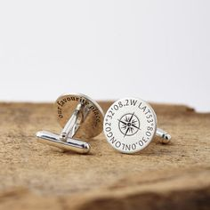Personalised Silver Coordinates Cufflinks