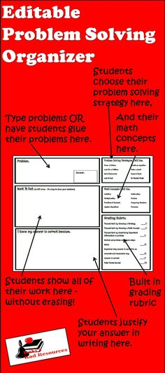 Editable Problem Solving Organizer with built in grading rubric. Plug in leveled problems for easy differentiation. Just $2.00 and can be used over and over all year long.
