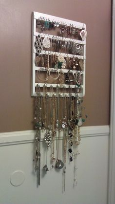 CONTEMPORARY Styled Jewelry Holder, Straight-cut, 54-108 Pairs, 20 Pegs, Maple, Wood, Hanging, Cabinet Grade Paint, Ready To Ship via Etsy