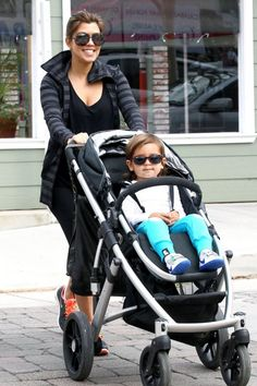 Aiden has the same strooler as Mason:Shaded mother-son duo, Kourtney and Mason, stroll the streets of Calabasas in the VISTA!