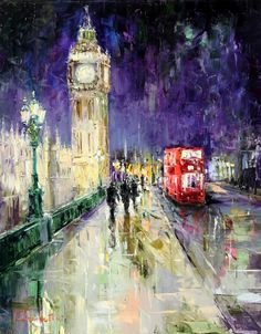 Westminister Bridge by Gleb Goloubetski, Oil on Canvas, 100cmx80cm THIS PAINTING IS SOLD