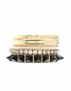 PYRAMID STUD BRACELET SET: This glam set features a strand of pyramid studs, a rhinestone bangle, faux-pearls and textured metallic bangles. Set of five; one size fits most. $6.00 NOW: $5.00