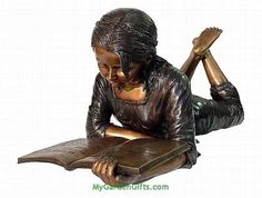 Lying Down Bronze Reading Girl Sculpture Book Sculpture, Sculpture Ideas, Bronze Sculpture, Girl Reading Book, Nooks, Libraries, Statues, Childrens Books, Random Things