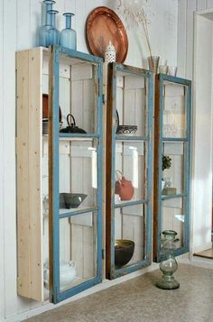 Old windows into glass cabinet Project Difficulty: Simple Shabby Chic Design | Kid Friendly Project Idea MaritimeVintage.com #shabbychicbathroomsshelves #GlassShelves
