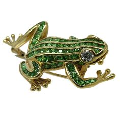 Tsavorite Garnet Gold Frog Brooch Pin | From a unique collection of vintage brooches at https://www.1stdibs.com/jewelry/brooches/brooches/