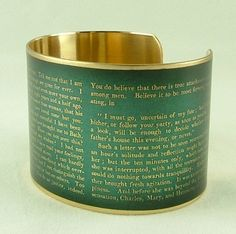 Persuasion Book by Jane Austen Half Agony, Half Hope Brass Cuff in Teal