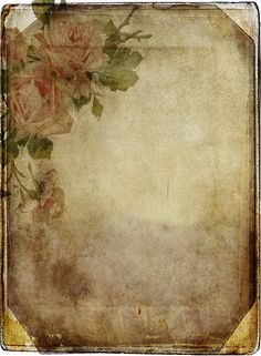 Vintage distressed paper with roses in top corner