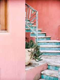 Pastel blue steps against pink building by Daniel Kim Photography for Stocksy Un… - Aesthetic Photography Aesthetic Photography Pastel, Pastel Photography, Dream Photography, Photo Wall Collage, Picture Wall, Wallpaper Pink And Blue, Building Aesthetic, Vsco Pictures, Wall Pictures
