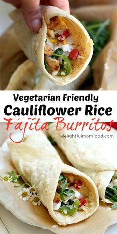 rice fajita burrito made with roasted red peppers, arugula and feta ...