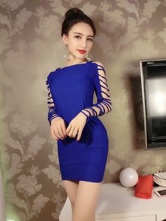 Buy Now (Solid Boat Neck Hollow Out Bodycon Dress) from Sheetag - http://www.sheetag.com/product/solid-boat-neck-hollow-bodycon-dress/