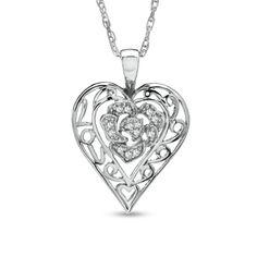 Precious Moments 1/10 CT. T.W. Diamond Blossom Heart Pendant in Sterling Silver zales
