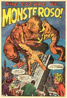 Having never seen 'King Kong', Monsteroso doesn't realise it's not a great idea for monsters to go climbing buildings. From 'Amazing Adventures' Comic Book Pages, Comic Book Artists, Comic Book Covers, Comic Artist, Comic Books Art, Jack Kirby Art, Cartoon Books, Old Comics, Marvel Comics