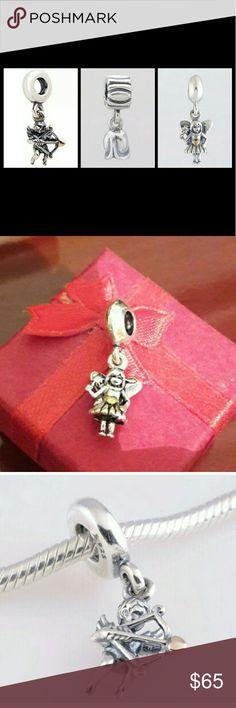 3 pcs set  Cupid .angel and rose charms 3 PCs 925 sterling silver Cupid dangle charm bead .925 sterling silver angel dangle charm bead .925 sterling silver Rose dangle charm bead .Fit Pandora bracelet and necklaces (not Pandora) Pandora Jewelry Bracelets