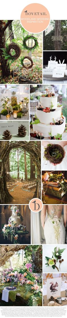Woodland has a magical atmosphere, and makes for a beautiful wedding theme. Whether you go earthy and natural or full-on enchanted forest (or a mixture of the two), there is no doubt that this will be one unforgettable wedding. I love the use of moss in weddings, and a birds' nest ring holder is just adorable. Using woodland illustration on your invitations or table names adds a whimsical and fun feel.