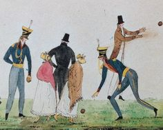 Watercolour by Diana Sperling (detail). 'Playing bowls. June 7th 1816. Dynes Hall. Cap't Du Cane ...'