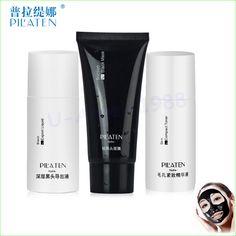 3 pçs/set 100% PILATEN removedor de cravo, Preto cabeça de exportação líquida + máscara + compacto, Preto lama máscara facial alishoppbrasil