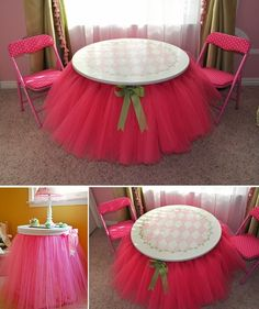 DIY Tutu Table Skirt - I would love something like this for the wedding but she said it took 50 yards of tulle and my tables would be much taller...not sure that will be in the budget. But how gorgeous would this be?