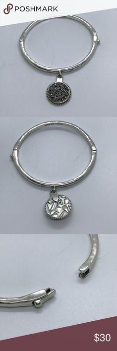"""Lucky Brand Latched Bangle Silver Marcasite Dangle Lucky Brand Latched Silver Plated Marcasite Dangle Bracelet. Diameter 2.1/4"""". EUC Lucky Brand Jewelry Bracelets"""