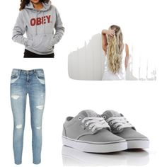 Casual School Outfit... I hope I have alot of lazy days like this... Sweatshirt(eagles ball)✔️ shoes(grey and purple vans)✔️ jeans