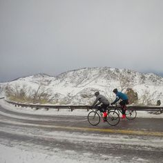 Some days you just have to give it a shot even when all the signs say you shouldn't. Even if you ultimately don't succeed there is triumph in the grit to try.  Thanks @rich.rodgers for not even hesitating to take on the mountain this morning. #adride /// #rule9 #mothernature #Colorado #cyclingpics #snow #ice #seenonmyride #fromwhereiride #cyclinglife #rapha #cannondale #moots by mikeandbikes