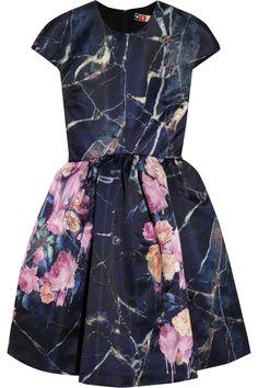 Printed duchesse-satin mini dress